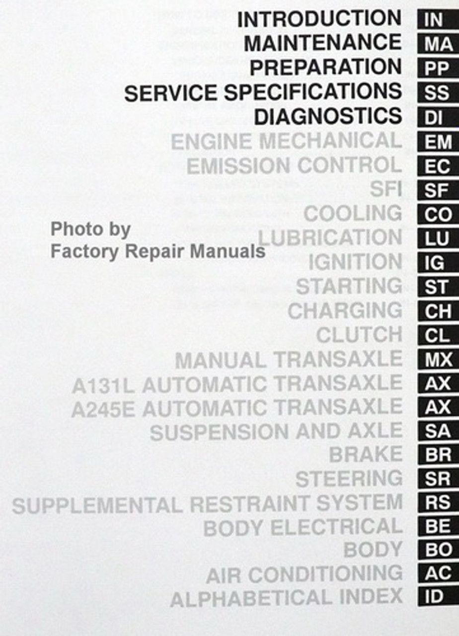 1998 Toyota Corolla Factory Service Manual Set Original