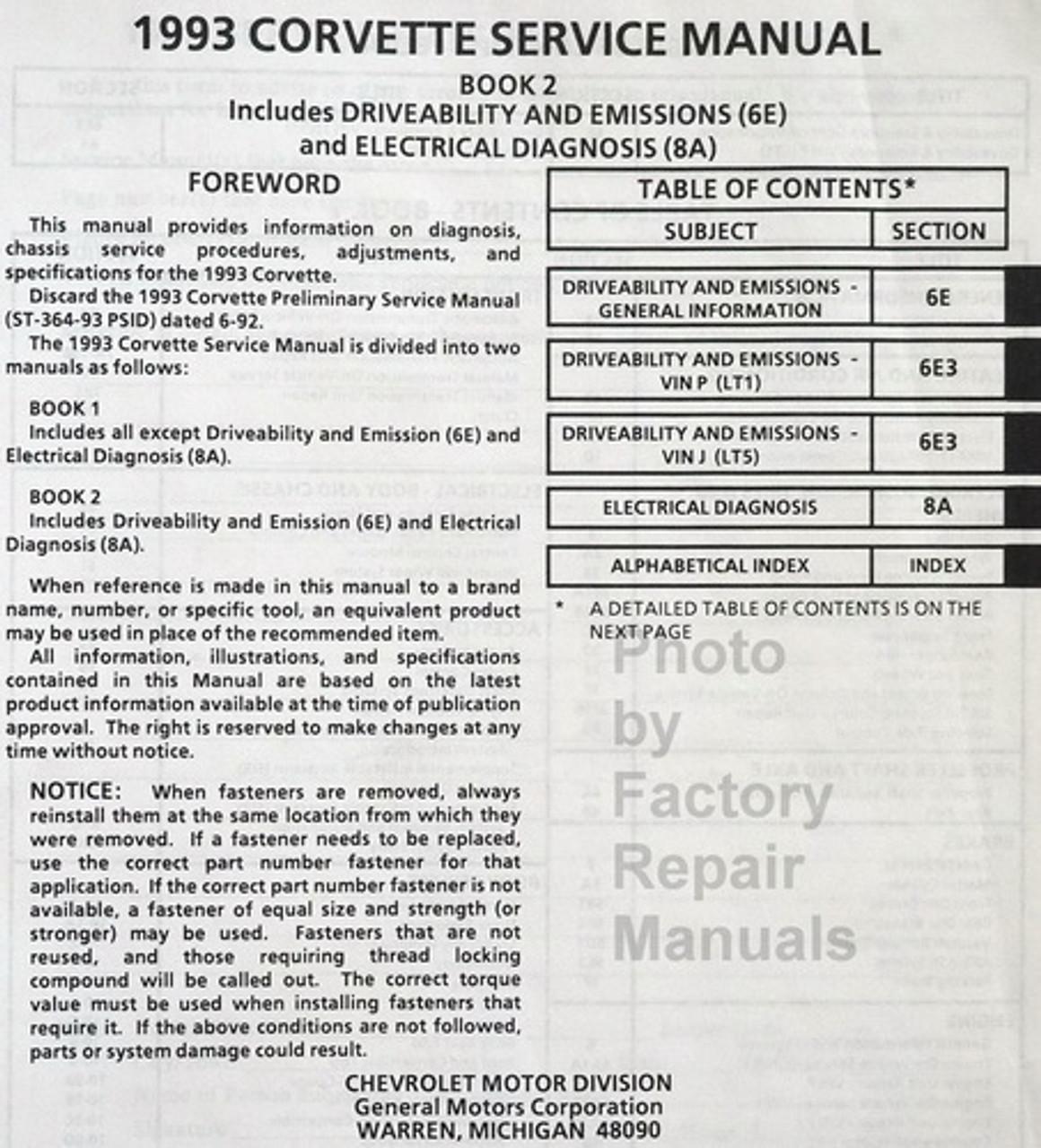 1993 Chevy Corvette Factory Service Manual Set Original Shop Repair