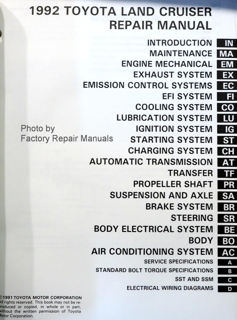 1992 Toyota Land Cruiser Factory Repair Manual Original