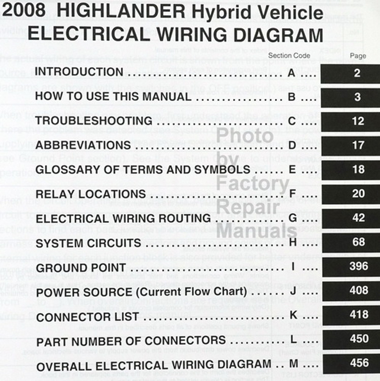 2008 Toyota Highlander Hybrid Electrical Wiring Diagrams