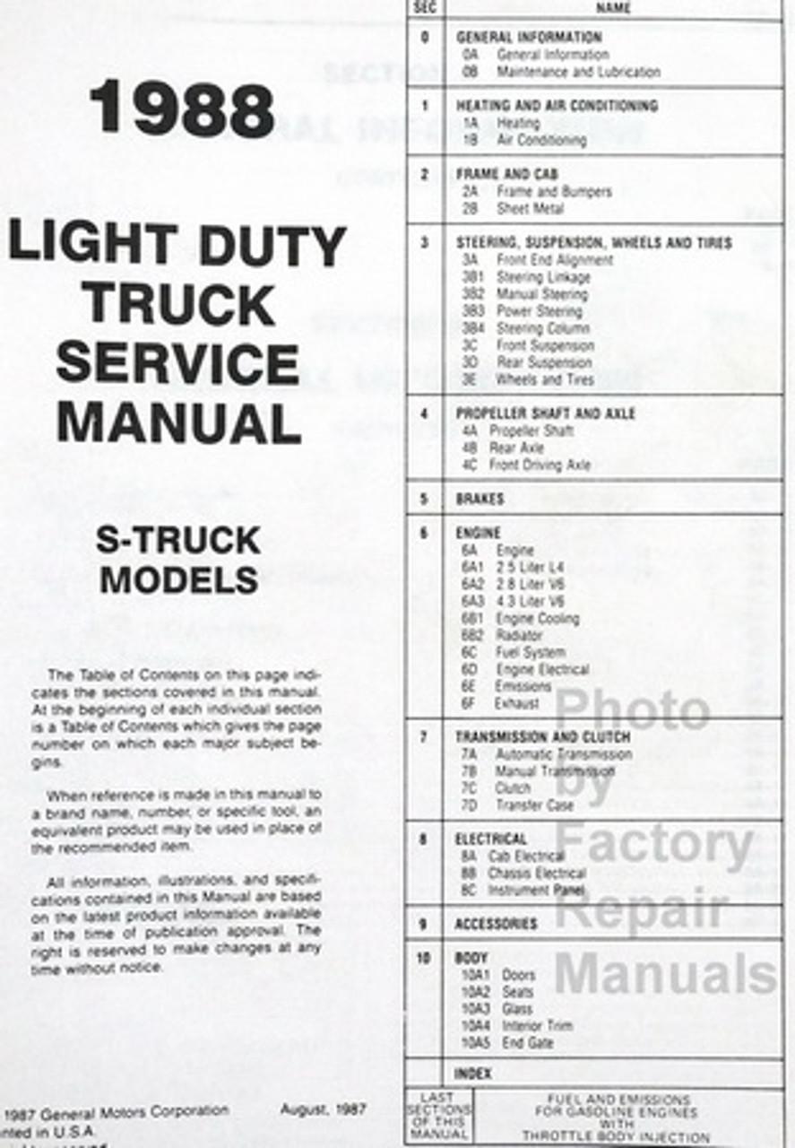1988 Chevy S10 Truck S10 Blazer Factory Shop Service