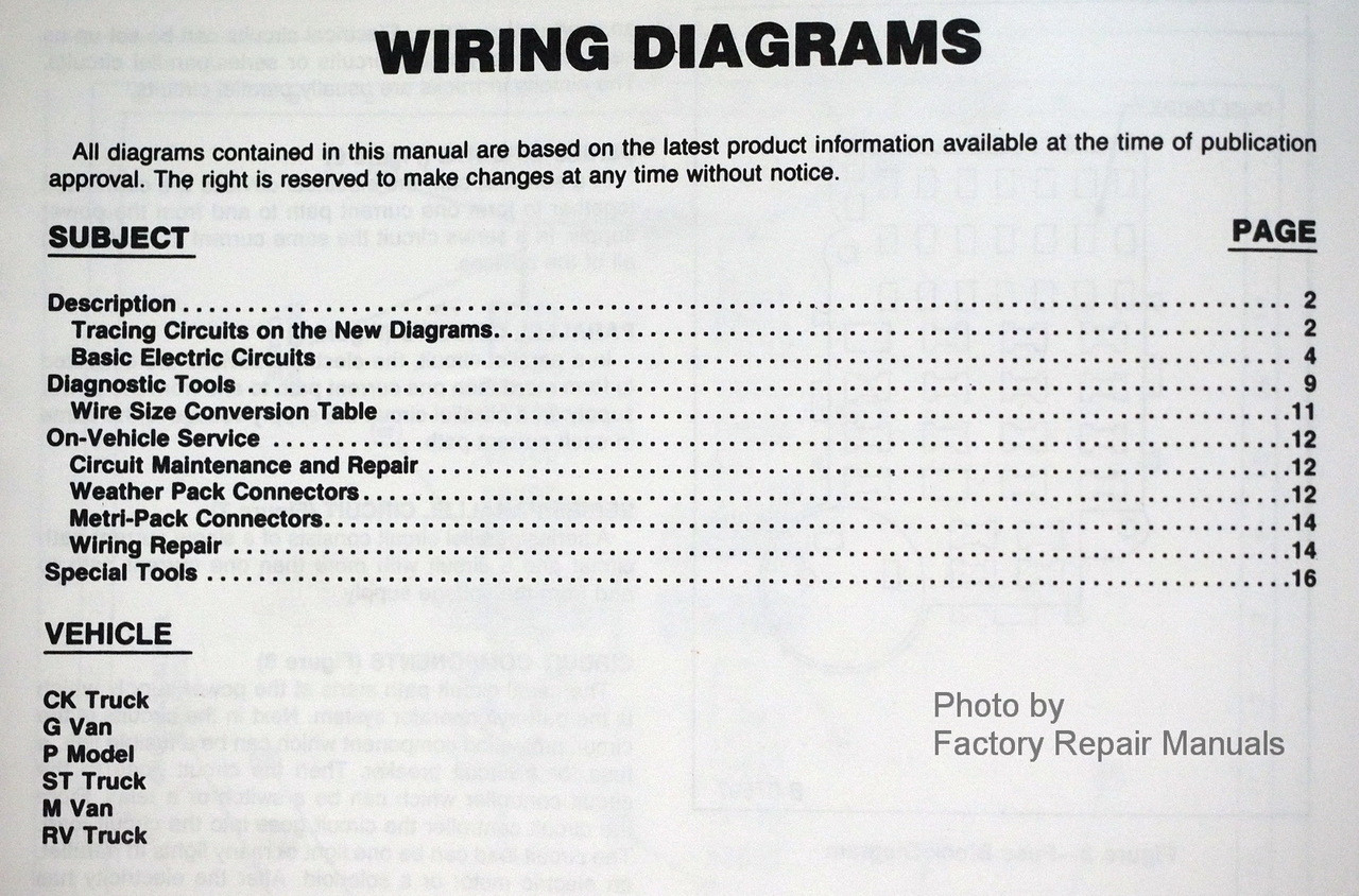 1987 Chevy Light Truck Suburban Blazer Van Wiring Diagrams