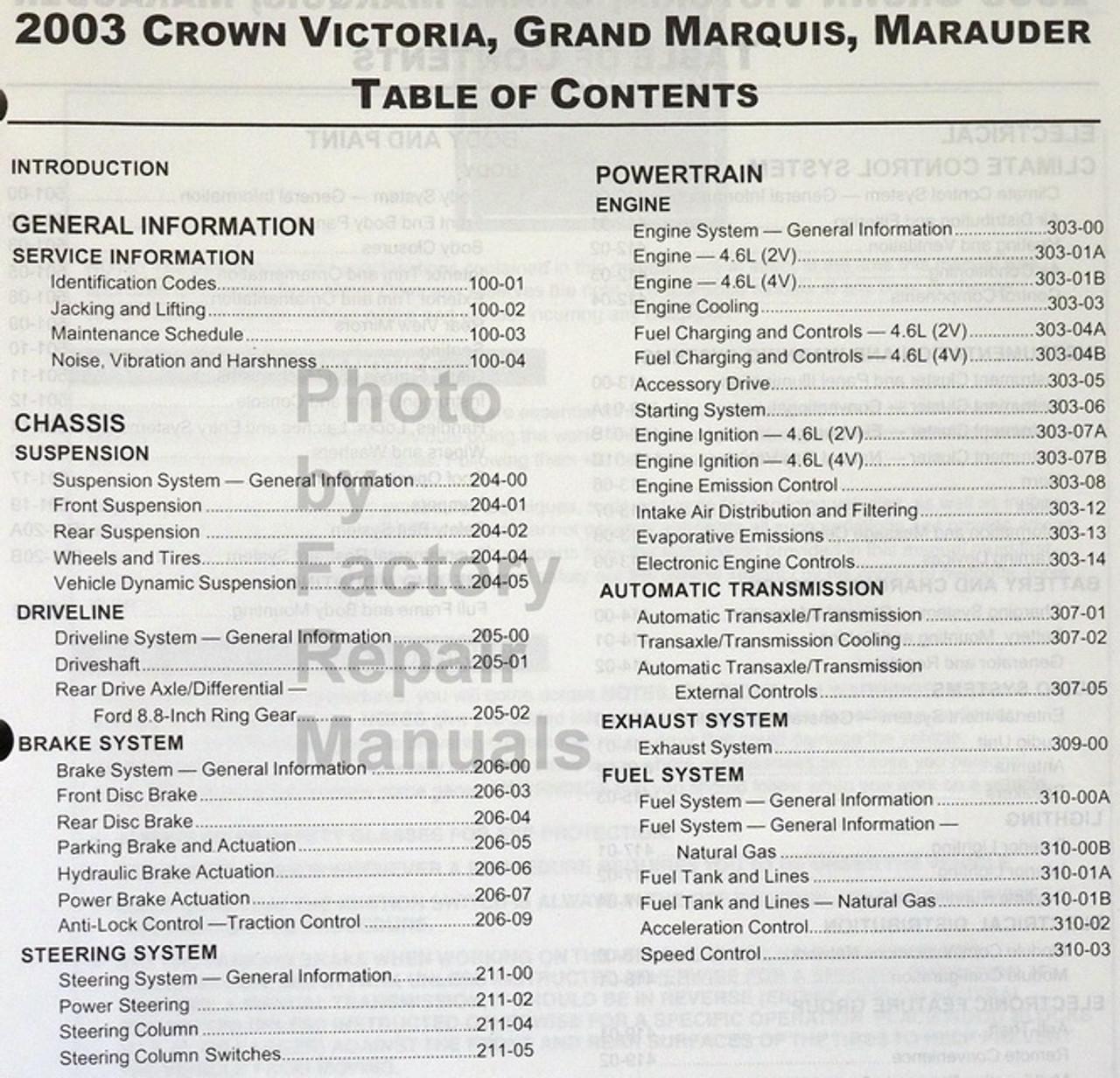 2003 Crown Victoria Grand Marquis Marauder Factory Shop Service Manual Used Factory Repair Manuals