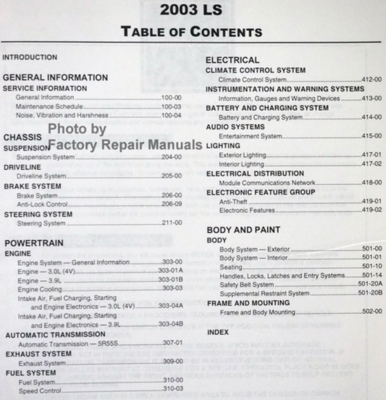 2003 Lincoln LS Factory Service Manual Set Original Shop
