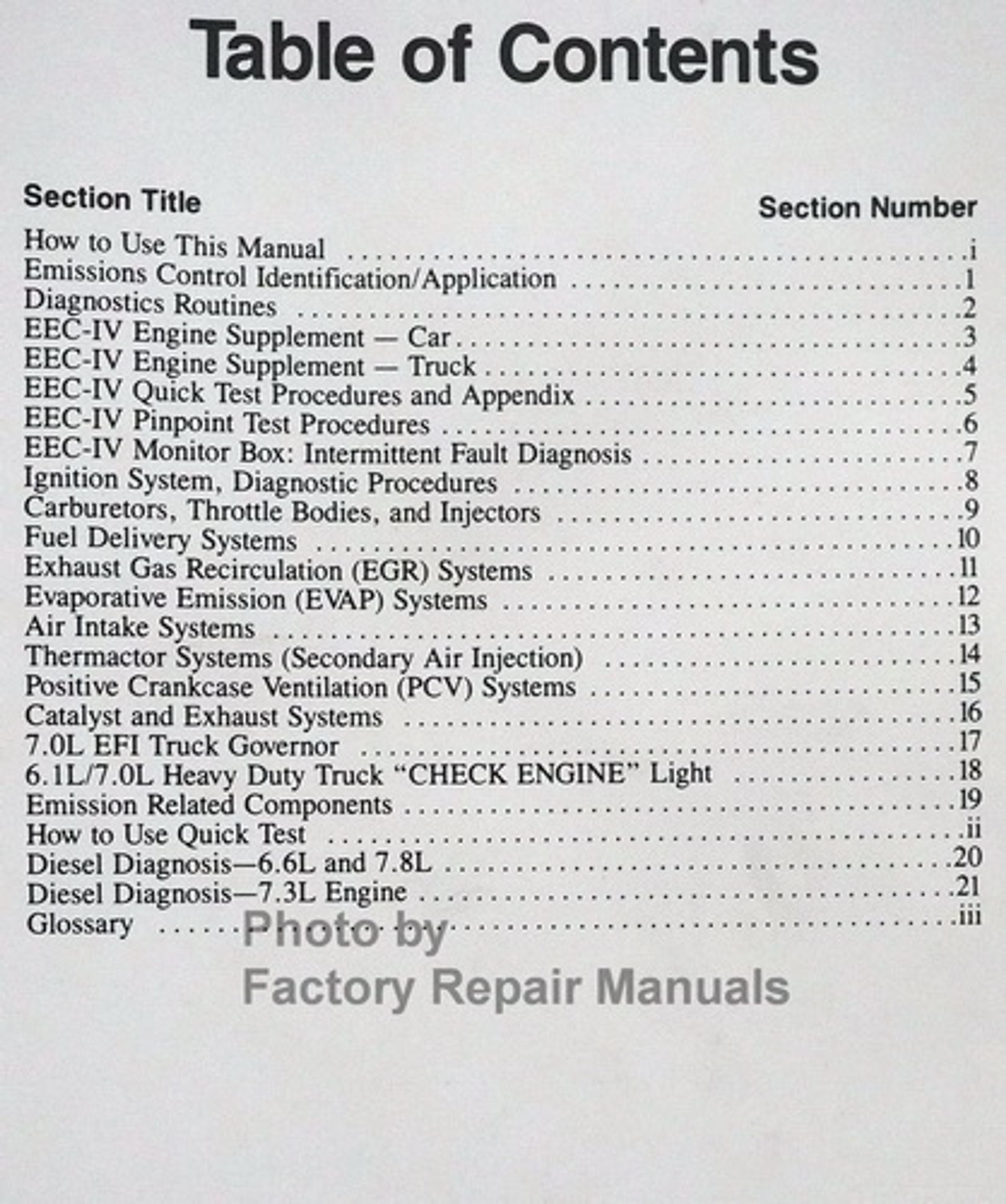 1991 Ford Lincoln Mercury Car & Truck Engine and Emissions