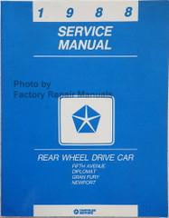 1988 Chrysler Rear Wheel Drive Car Fifth Avenue Diplomat Gran Fury Service Manual