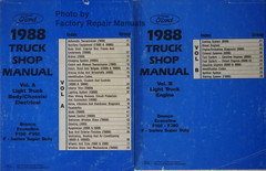 1988 Ford Truck Shop Manual Bronco, Econoline F150 - F350 F-Series Super Duty Volume A and B