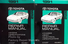 1991 Toyota MR2 Repair Manual Volume 1, 2 - Engine Chassis Body Electrical Specifications