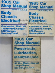 1985 Ford Car Shop Manual Continental, Mark VII, Thunderbird/Cougar, LTD/Marquis, Mustang/Capri 3 Volumes