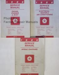 1986 Service Manual Chrysler Front Wheel Drive Car Volume 1, 2, 3