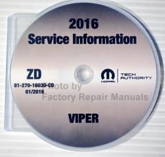2016 Dodge Viper  Mopar Service Information Manual CD
