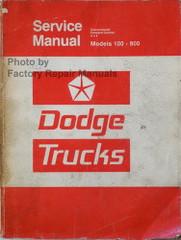 1975 1976 Dodge Truck Models 100-800 Conventional - 4x4 - Forward Control Service Manual