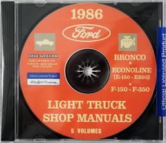 1986 Ford Bronco Econoline E-150 to E350 F-150 to F-350 Light Truck Shop Manual Five Volumes