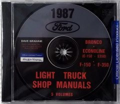 1987 Ford Bronco Econoline E-150 to E350 F-150 to F-350 Light Truck Factory Shop Manuals 5 Volumes