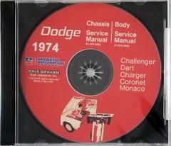 1974 Dodge Challenger Dart Charger Coronet Polara Monaco Service Manual Volume 1, 2 on CD