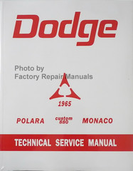 1965 Dodge Polara Custom 880 Monaco Technical Service Manual