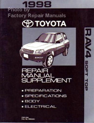 1998 Toyota RAV4 Soft Top Convertible Repair Manual Supplement