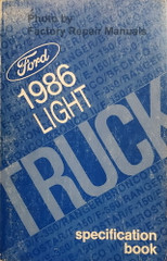 1986 Ford Light Duty Truck Specifications Book