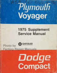 1975 Dodge Compact Van Plymouth Voyager Service Manual Supplement
