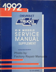 1992 Chevy C K Truck Natural Compressed Gas Service Manual Supplement