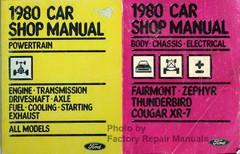 1980 Ford Thunderbird Fairmont Mercury Cougar Zephyr Shop Service Manual Set