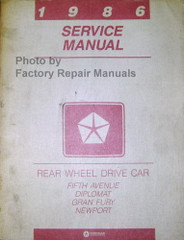 1986 Fifth Avenue Diplomat Grand Fury Service Manual