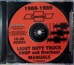 1988 1989 Chevy Light Truck Suburban Van Shop Service and Overhaul Manual CD