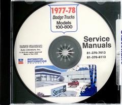 1977 Dodge Trucks Service Manual Models 100-800