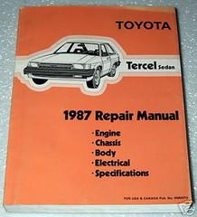 1987 TOYOTA TERCEL SEDAN Factory Dealer Shop Service Repair Manual