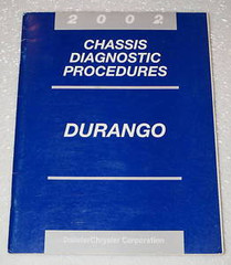 2002 Dodge Durango Chassis Diagnostics Procedures Manual Original Shop Repair