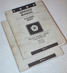 1987 Dodge Caravan Mini Ram Van and Plymouth Voyager Factory Shop Service Manual Set