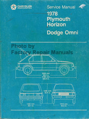 Chrysler Service Manual 1978 Plymouth Horizon Dodge Omni