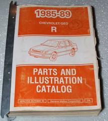 1985-1989 Pontiac Sunburst GEO Spectrum Parts and Illustration Catalog Manual