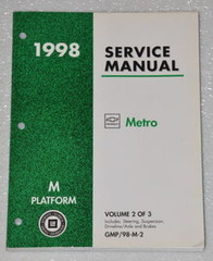 1998 Chevrolet Geo Metro Factory Shop Service Manual - Volume 2 Chassis
