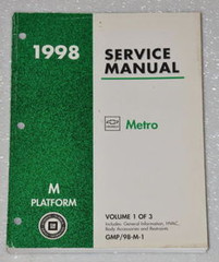 1998 Chevrolet Geo Metro Factory Shop Service Manual - Volume 1 Body and Electrical