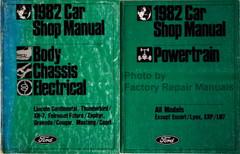 1982 Car Shop Manual Lincoln Continental, Thunderbird / XR-7, Fairmonty Futura / Zephyr, Granada / Cougar, Mustang / Capri