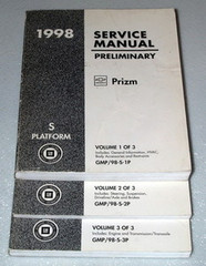 1998 Service Manual Geo Chevrolet Prizm Volume 1, 2, 3