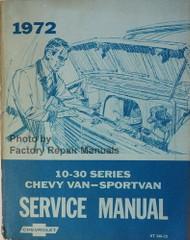 1972 Chevrolet 10-30 Series Chevy Van Sportvan Service Manual
