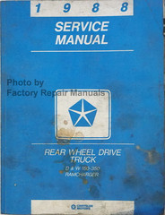 1988 Service Manual Dodge Truck D & W 150-350, Ramcharger