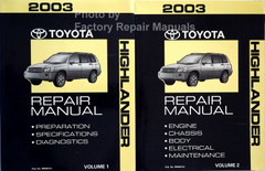 2003 Toyota Highlander Repair Manual Volume 1 and 2