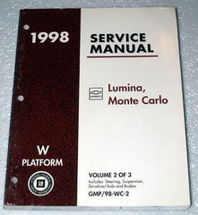 1998 Chevy Lumina, Monte Carlo Factory Shop Service Manual - Volume 2 Chassis