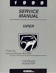 1999 Dodge Viper Factory Service Manual Original Shop Repair