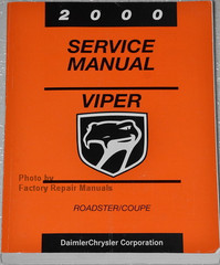 2000 Dodge Viper Factory Service Manual Original Shop Repair