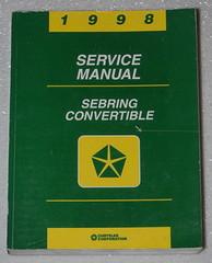 1998 Service Manual Sebring Convertible Chrysler