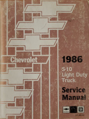 Chevrolet 1986 S10 Light Duty Truck Service Manual