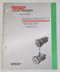 SPICER Transmission Asssemblies and Parts Price List Manual 2001 TTC Corporation