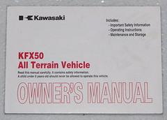 2007 KAWASAKI KFX 50 Quad ATV Owners Manual KFX50 KSF50 KSF50B Original Owner's