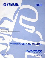 2008 YAMAHA WR450F Owners Service Manual WR450FX Motorcycle Original Shop Repair
