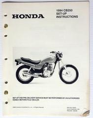 1994 CB250 Set-Up Instructions Assembly Manual CB 250 Original w/ Wiring Diagram