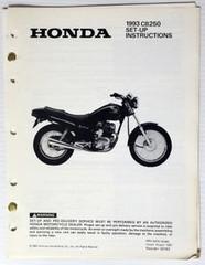 1993 CB250 Set-Up Instructions Assembly Manual CB 250 Original w/ Wiring Diagram